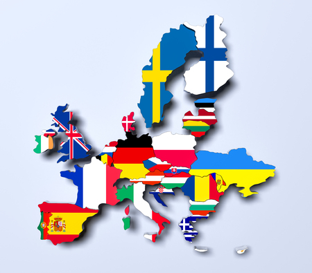 European Union political Map 3d rendered image