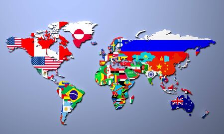 world flags: The world map with all states and their flags 3d illustration