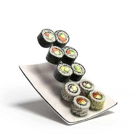 sushi  plate: sushi rolls served on a plate 3d render