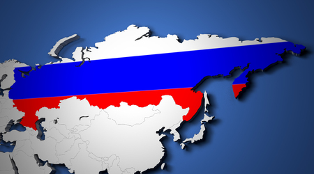 world flags: The world map with russia and their flags 3d render Stock Photo