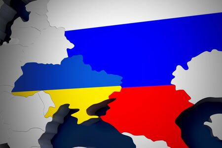 no nuclear: Europe map Ukraine and Russia 3d render
