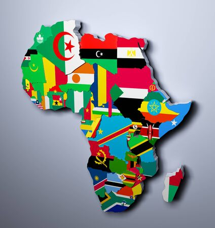 botswana: AFRICA MAP WITH FLAGS OF THE COUNTRIES 3d illustration