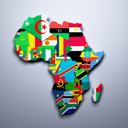 tanzania: AFRICA MAP WITH FLAGS OF THE COUNTRIES 3d render
