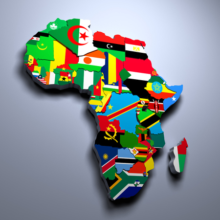 AFRICA MAP WITH FLAGS OF THE COUNTRIES 3d rendered image