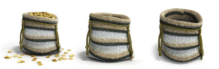 Handicraft handmade knitting small bag 3d render on white