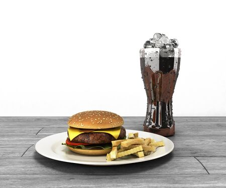 hamburger and a glass of cola with ice on wooden table Free space for text 3d render on white Stock Photo
