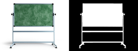 forgetful: Green chalkboard with metal frame 3d render on white with alpha