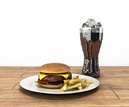 hamburger and a glass of cola with ice on color wooden table Free space for text 3d render on white