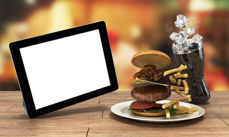Tablet computer with a blank screen on the wooden table with a hamburger and a glass of cola with ice Free space for text 3d render
