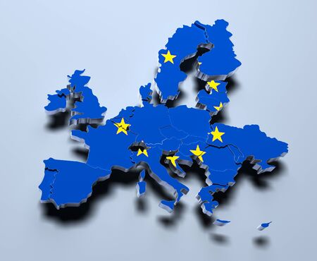 European Union Map 3d rendered image