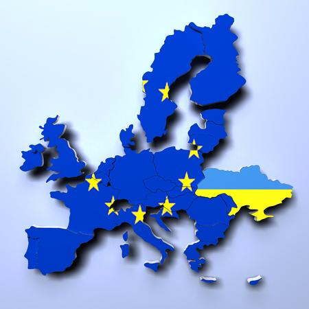 bandera de polonia: Unión Europea Mapa político imagen 3D