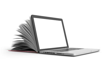 creatieve e-learning concept boek en laptop 3d render op wit Stockfoto