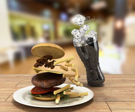 hamburger and a glass of cola with ice on color wooden table Free space for text 3d render