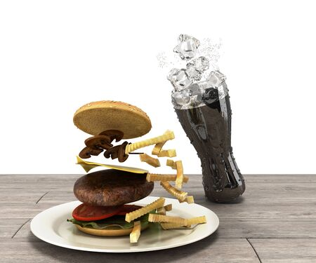 hamburger and a glass of cola with ice on wooden table Free space for text 3d render on white Banque d'images