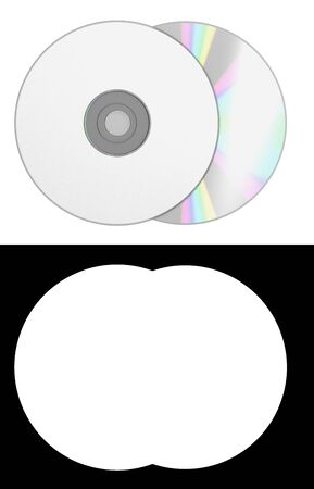 blank cd disk 3d render on white with alpha channel