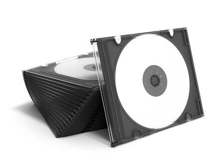 writable: 3D CD cases open on white background