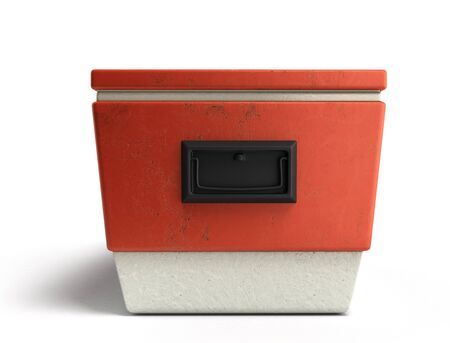 cooler boxes: beach refrigerator Cooler red 3d render on a white background Stock Photo