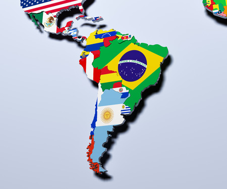South America map 3d illustration