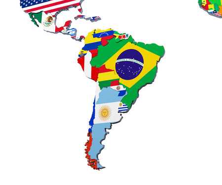 South America map 3d illustration on white Stock Photo