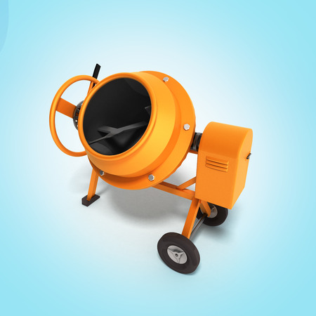 electrically: Concrete mixer 3D illustration on gradient bacground