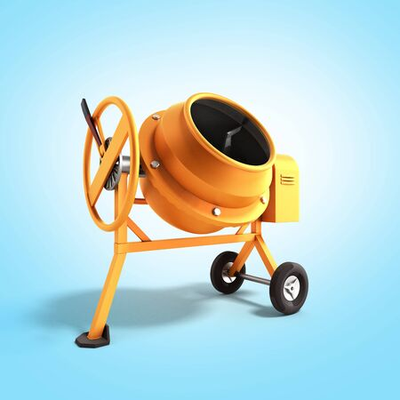 Concrete mixer 3D illustration on blue bacground