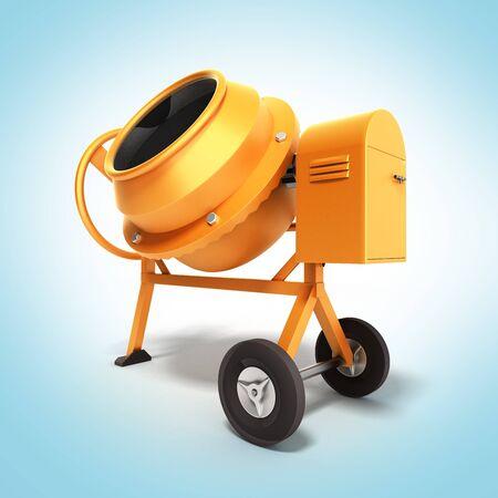 Concrete mixer 3D illustration on gradient Stock Photo