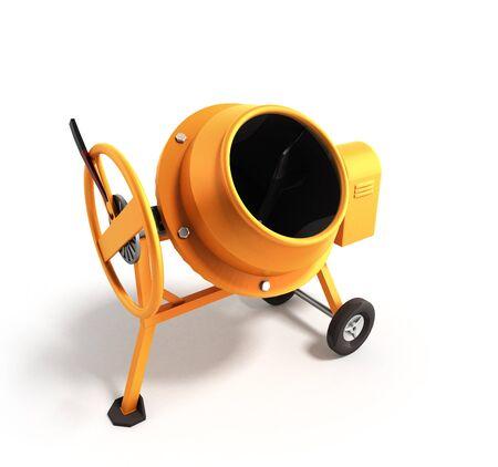electrically: Concrete mixer 3D illustration on white bacground Stock Photo