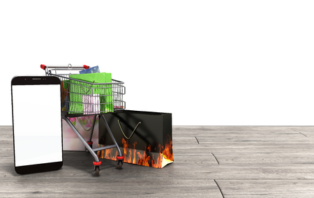 flor: packets next to the phone and a trolley for supermarkets on grey wooden flor 3d render