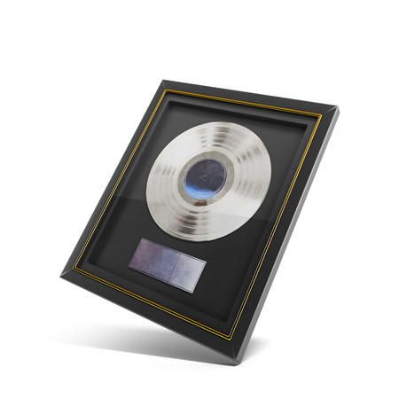 Silver CD prize with label in frame on wall 3d render Stock Photo