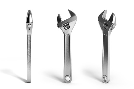 Adjustable wrench 3d render isolated on white background