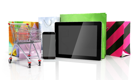 flor: packets next to the phone and tablet on glass flor 3d illustration Stock Photo