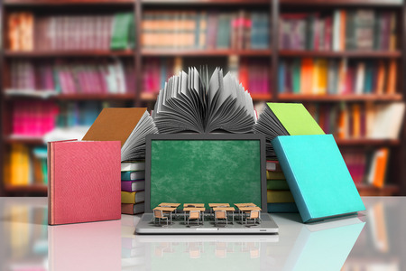 모바일 지식 학교 또는 대학 교육 비즈니스 사무실 작업 및 전자 미디어 개념 노트북 또는 노트북 라이브러리에서 격리하는 서의 스택과 함께 3d 렌더