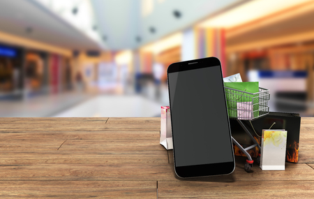 flor: packets next to the phone and a trolley for supermarkets on wooden flor 3d illustration Stock Photo