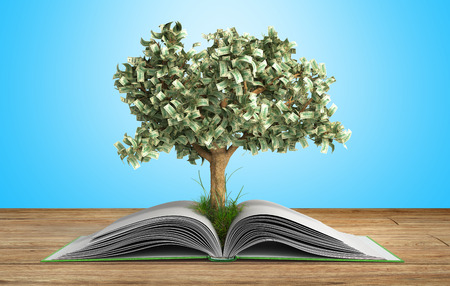 tree growing from book A big open book with tree Reading makes you richer concept 3d render on gradient Standard-Bild