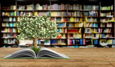 knowlage: tree growing from book A big open book 3d render Success knowlage concept Stock Photo