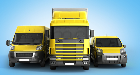 3D illustration of a truck a van and a lorry against a gradient background Фото со стока