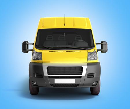 3d render of Yellow Delivery Van Icon on gradient Stock Photo