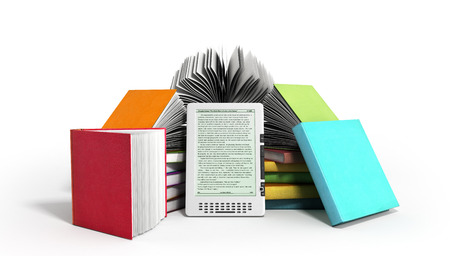 E-book reader Books and tablet 3d render image on white