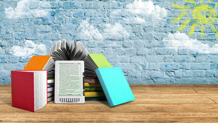 E-book reader Books and tablet breeck background 3d illustration Success knowlage concept