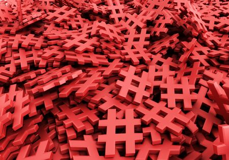Infinite hashtags on a plane original 3d rendering illustration