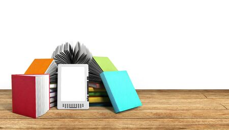 E-book reader Books and tablet on wood 3d illustration Success knowlage concept Stock Photo