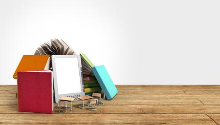 3d om: E-book reader Books and tablet 3d render om wood flor Success knowlege concept Stock Photo