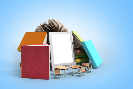 E-book reader Books and tablet 3d render image on blue gradient