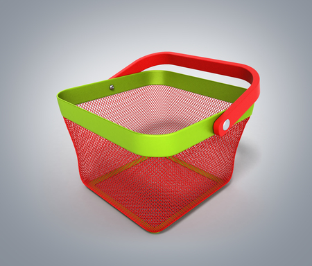 Empty Shopping Basket Render isolated on grey gradient 3D Illustration