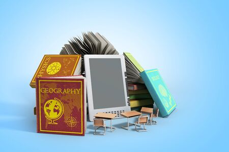 knowlage: E-book reader Books and tablet on gradient 3d illustration Success knowlage concept Stock Photo