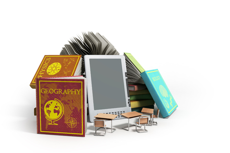 knowlage: E-book reader Books and tablet on wood 3d illustration Success knowlage concept Stock Photo