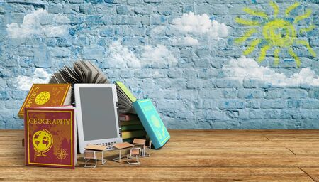 E-book reader Books and tablet break background 3d render Success knowlege concept