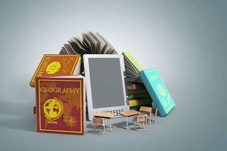 knowlage: E-book reader Books and tablet on grey gradient 3d illustration Success knowlage concept