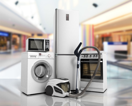 Home appliances Group of white refrigerator washing machine stove microwave oven vacuum cleaner on glass flor background 3d