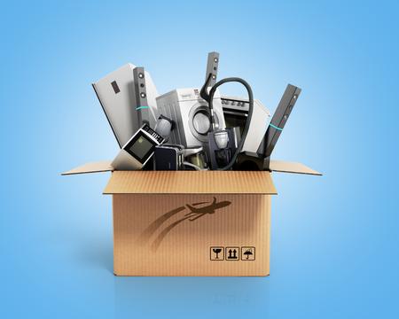 상자에서 기기 파란색 그라디언트 3d 그림 스톡 콘텐츠